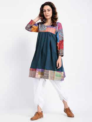 Teal Kantha-Embroidered Cotton Tunic