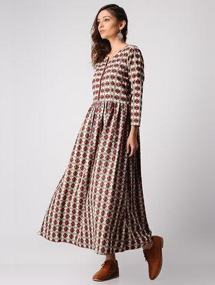 Red-Grey Dabu-printed Gathered Cotton Dress