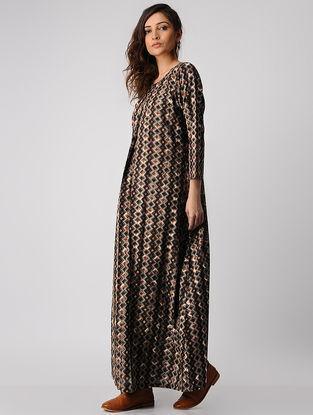 Brown Dabu-printed Cotton Dress