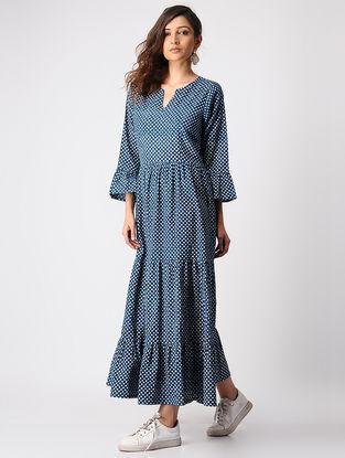 Indigo Dabu-printed Gathered Cotton Dress