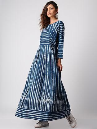 Indigo Dabu-printed Striped Cotton Dress
