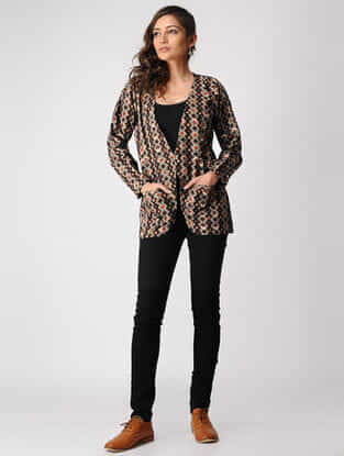 Brown Dabu-printed Cotton Jacket