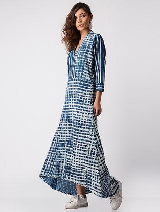 Indigo Dabu-printed Cotton Dress with Asymmetrical Hem