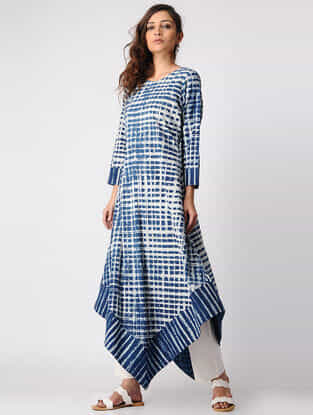 Indigo Dabu-printed Cotton Kurta with Asymmetrical Hem
