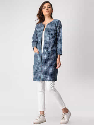 Indigo Dabu-printed Cotton Jacket
