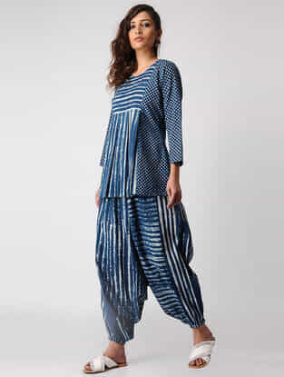 Indigo Pleated Dabu-printed Cotton Tunic with Harem Pants
