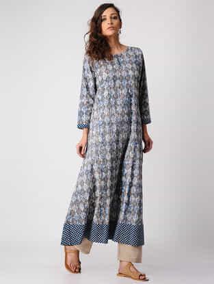 Indigo Dabu-printed Cotton Kurta