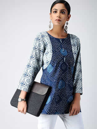 Indigo Dabu-printed Cotton Top