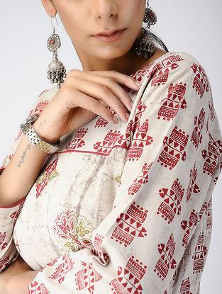 Beige-Red Dabu-printed Cotton Kurta