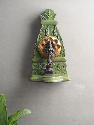 Vintage Inspired Wood and Brass Wall Accent (L:11.6in x W:6.7in)