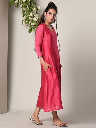Pink Panelled Chanderi Cotton Dress