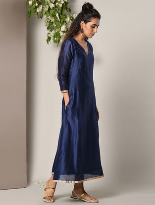 Blue Panelled Chanderi Cotton Dress