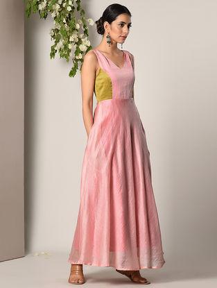 Pink Chanderi Cotton Maxi Dress