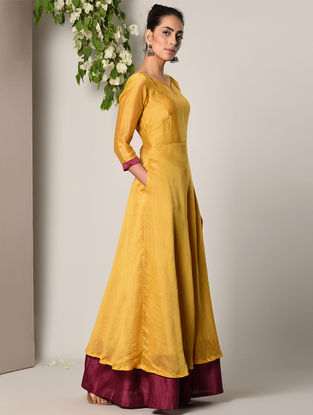 Mustard-Maroon Chanderi Cotton Maxi Dress