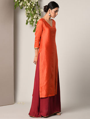 Orange-Maroon Cotton Modal Kurta with attached Skirt