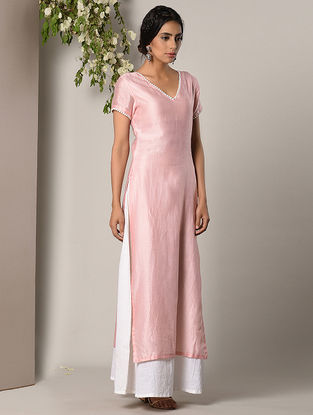Pink Chanderi Cotton Kurta with Attached Palazzos and Side Zipper