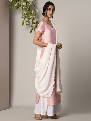 Pink Chanderi Cotton Kurta with Attached Palazzos and Dupatta (Set of 2)