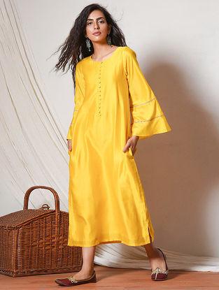 Yellow Jute Lace Chanderi Dress