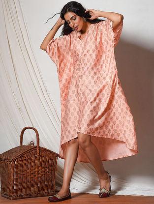 Peach Block-printed Chanderi Dress