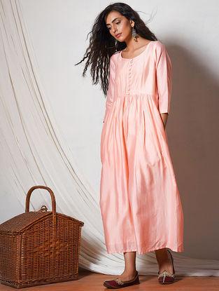 Peach Gathered Chanderi Dress