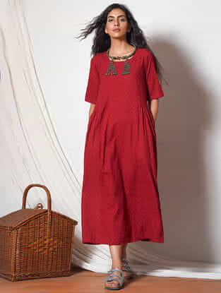 Red Gathered Cotton Dress with Pockets