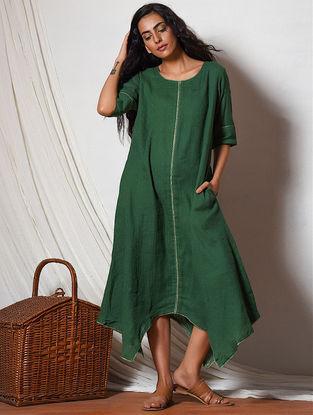 Green Cotton Dress with Asymmetrical Hem