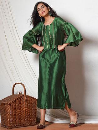 Green Jute Lace Chanderi Dress