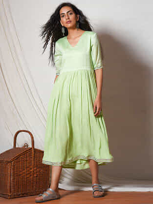 Green Gathered Gota Lace Cotton Dress with Pocket