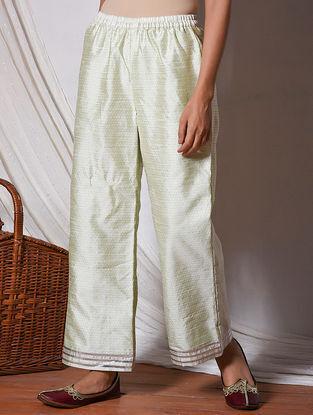 Green Gota Lace Elasticated Waist Silk Pants
