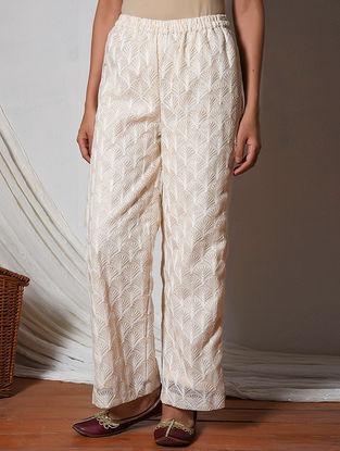 Ivory Embroidered Elasticated Waist Kota Silk Pants