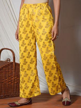 Yellow Block-printed Elasticated Waist Chanderi Pants