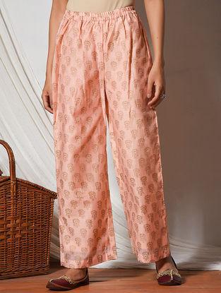 Peach Block-printed Elasticated Waist Chanderi Pants