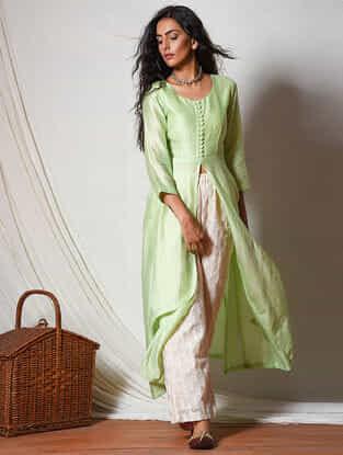 Green Chanderi Kurta with Front Slit