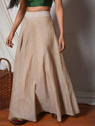 Beige Flared Chanderi Cotton Skirt