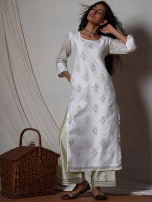 Ivory-Green Gota Lace Chanderi-Silk Blend Kurta with Pants (Set of 2)