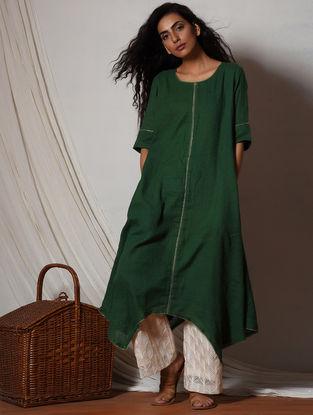 Green-Ivory Embroidered Cotton-Kota Silk Kurta with Pants (Set of 2)