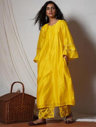 Yellow Jute Lace Chanderi Kurta with Pants (Set of 2)