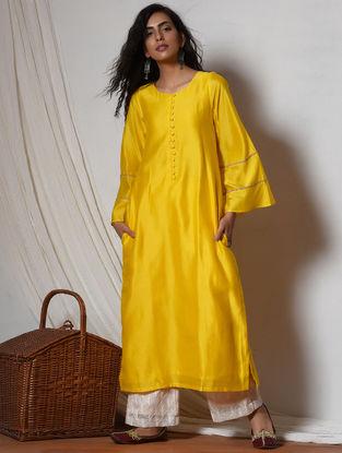 Yellow-Ivory Jute Lace Chanderi-Kota Silk Kurta with Pants (Set of 2)