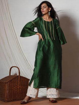 Green-Ivory Jute Lace Chanderi-Kota Silk Kurta with Pants (Set of 2)