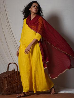 Yellow-Red Cotton-Chiffon Maxi Dress with Dupatta (Set of 2)