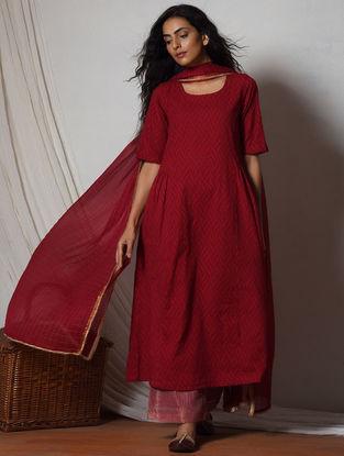 Red Cotton-Kota Silk Kurta with Pants and Dupatta (Set of 3)