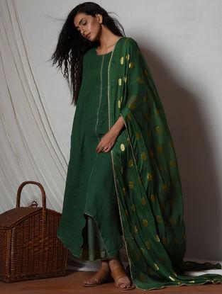 Green Cotton-Kota Silk Kurta with Pants and Dupatta (Set of 3)