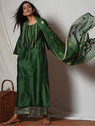 Green Chanderi-Kota Silk Kurta with Pants and Dupatta (Set of 3)