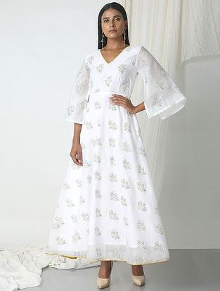 White Block-printed Chanderi Dress