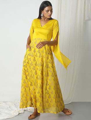 Yellow Block-printed Chanderi Dress