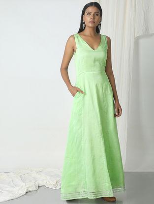Green Chanderi Dress with Gota Border