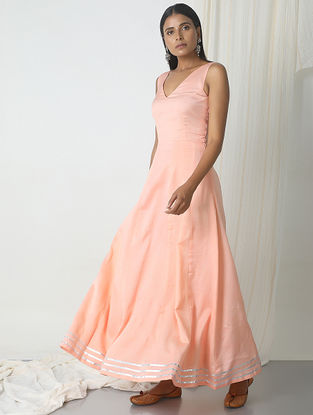 Peach Chanderi Dress with Gota Border