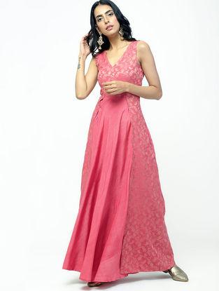 Pink Cotton Silk-Jacquard Maxi Dress