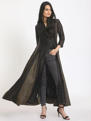 Black Cotton-Chanderi Jacket