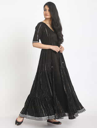 Black Cotton-Chanderi Dress and Jacket with Gota Work